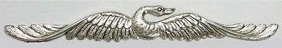 Finely Etched Ox Silver Beautiful Delicate Bird Stamping Art Nouveau Style