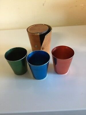 RETRO Anodised Aluminium Travel Cup Set 3 Cups + Case