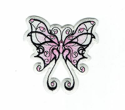 Large Pink/White Tribal Butterfly Iron on Applique/Embroidered Patch