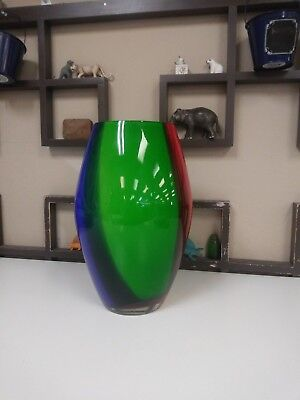 Makora Polish Poland Glass Vase Art Hand Blown Made Large Tall