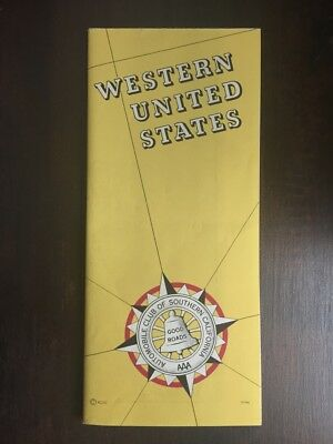 Automobile Club of Southern California Map US Highways Vintage Road Map 1950s