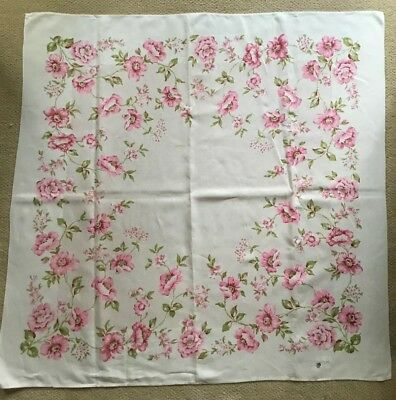 """Vintage Tablecloth Pink Flowers & Green Leaves Paisley White Linen 50""""x 50"""""""