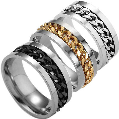 Fashion Women Mens Steel Rotatable Chain Band Ring Finger Spinner Ring Nice