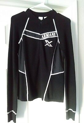 Ax Armani Exchange Women Black Knit Long Sleeve Pullover Top Size Small