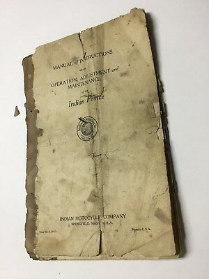 Indian Prince Motorcycle Manual Of Operation Original Well Used.