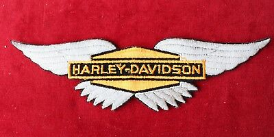 Vintage Original Harley Davidson Motorcycle Wings Logo Iron On Patch 80s 11x3