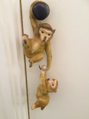 2 Vintage Japanese hanging monkey figurines