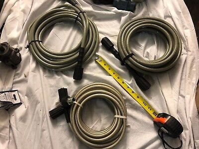 """3 QTY! 1/4"""" x 50' 3200 PSI (22MM-14 x 22MM-14) Pressure Washer Hose With Coupler"""