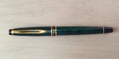 Waterman Expert Rollerball Pen in Green Marble with Gold Trim