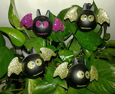 Halloween Bats Plant Stakes - Lot Of 4 - Glittered Black Metal   - New W/0 Tags
