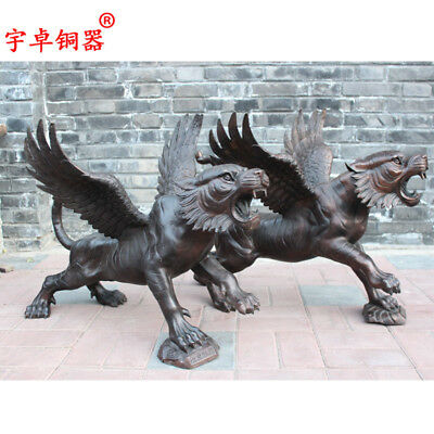 28'' Art Deco Sculpture One Pair Flying Tiger Winged Bronze Statue