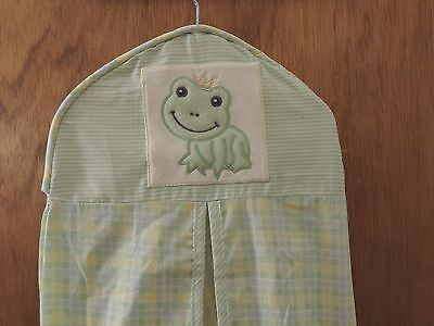 Lambs & Ivy Froggy Tales Diaper Stacker Frog Prince Green Yellow Blue Plaid