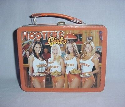 2001 Rare HOOTERS GIRLS Metal Lunch Box or Pail~~Nice Graphics, No Thermos