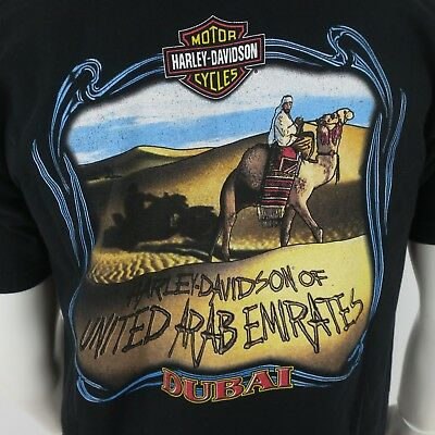 Harley Davidson Mens T Shirt Dubai United Arab Emirates Large Black Camel