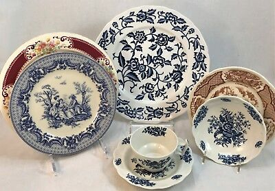 7-pc Mismatched China Ide Brothers, Laughlin, I.Godinger, Staffordshire Booths