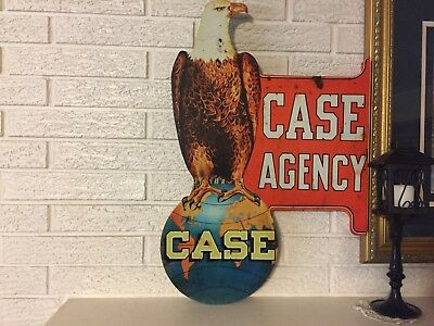 Reproduction Case Agency Eagle Laser Cut Out Flanged Sign 17x25 Double Sided