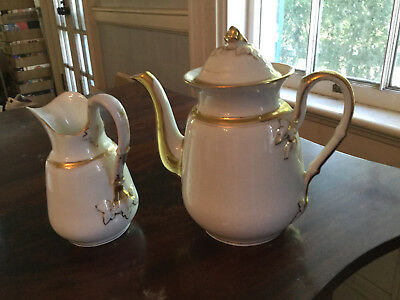 Antique Tea Coffee Pot Elegant with Gilded Fig on Lid with Cream Milk Pitcher