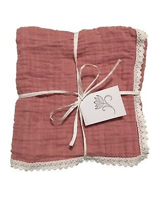 Muslin Swaddle Blanket with crocheted lace trim - Blush Pink