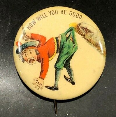 1898 King Alfonso Badge Pin Patriotic Spanam War Eagle Now Will You Be Good