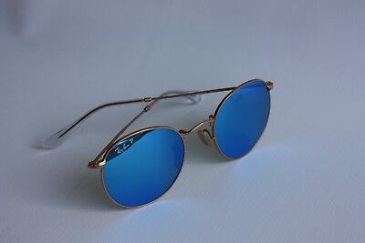 bee1e183c Ray-Ban RB3447 112/4L Round Metal Polarized Blue Flash Gold Frame Made In