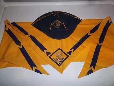 Vintage CUB SCOUT Cap Hat and  Scarf Neckerchief BSA Boy Scouts of America