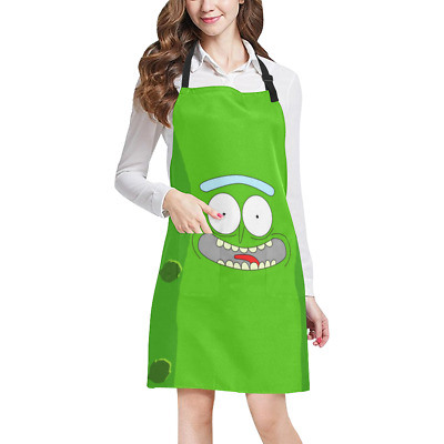 Pickle Rick Kitchen Apron with Pockets Fully Adjustable Working Clothing