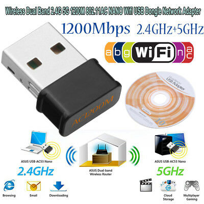 Dual Band 2.4/5Ghz 1200Mbps Wireless USB WiFi Network Adapter 802.11AC Dongle US
