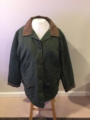 LL BEAN womens ladies barn chore coat jacket  Thinsulate Lined Green Lg ( As Is)