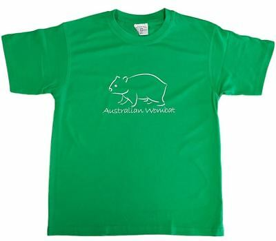 Australian Wombat Childrens T-Shirt (Emerald Green) Sizes 00 0 2 4 6 8 10 12 14