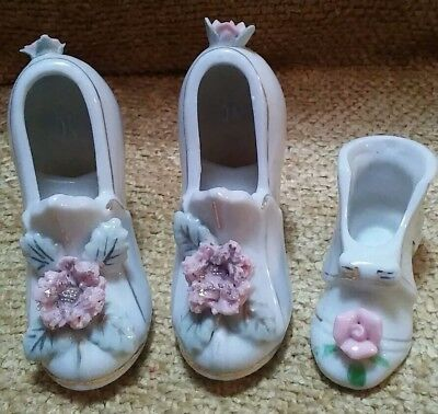 3 Vintage Miniature Ceramic Shoes with Spaghetti flowers & Gold Guilding