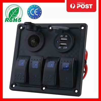 4 Gang LED Rocker Switch Panel Circuit Breakers Charger Car Marine Boat 12V 24V