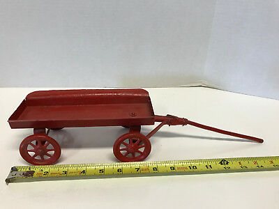Old Antique Tin Metal Horse Drawn Pulling Wagon Toy For Restore-Look