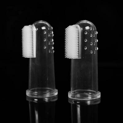 2X Pet Dog Cat Soft Finger Toothbrush Massage Teeth Clean Brush Puppy Oral Care