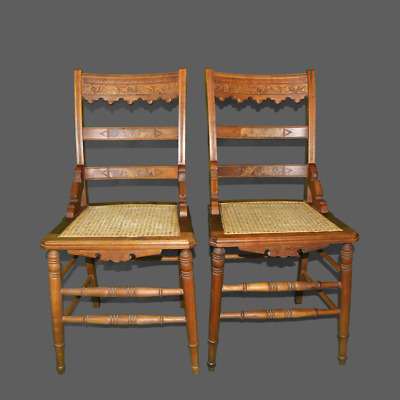 Pair Vintage Eastlake Oak French Country Farmhouse Accent Chairs