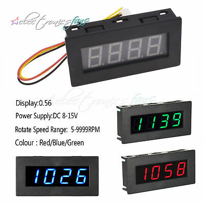 8-15V LED Digital Frequency Tachometer Car Motor Speed Meter RPM Test 5-9999R/M