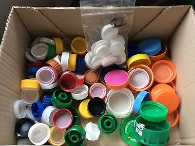 Plastic bottle caps assorted colors and sizes, screw-on, for crafts, kids