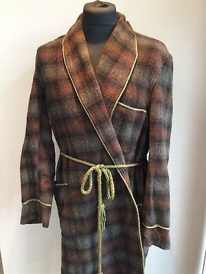 Welch Margetson mens Vintage Wool Robe 1940s 50s Large Dressing Gown Smoking 60s