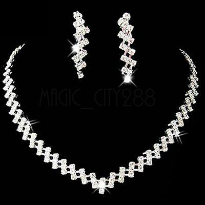 New ridal Wedding Prom Jewelry Crystal Rhinestone Diamante Necklace+Earring Set