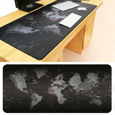 Black Extended World Map Gaming Mouse Pad Keyboard Pad Full Desk Mat 700X300MM