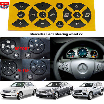 Matte Black Steering Wheel Button Repair Stickers for Mercedes Benz C class