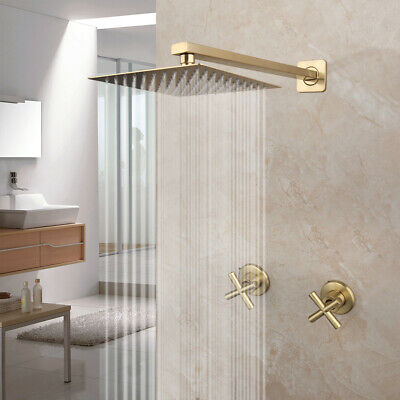 Blue Bathroom Round Vessel Sink Set Basin Tempered Glass Bowl W/Chrome Faucets