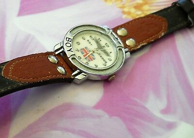 'BOY LONDON' 1980s VINTAGE WRIST WATCH, ORIG LEATHER STRAP, WORKS PERFECTLY