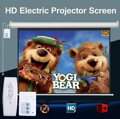 """NEW 84"""" 4:3 Electric Motorized HD 3D Projector Screen Projection Remote Control"""