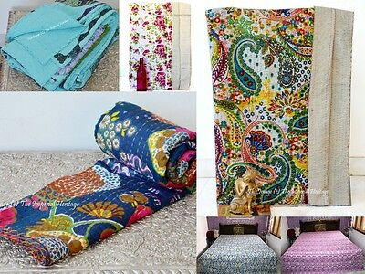 100% Cotton Indian Handmade Kantha Blanket Throw Quilt QUEEN Vintage Bed Cover