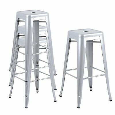 4X High Square Breakfast Bar Stools Industrial Vintage Classic Style Kitchen/Bar