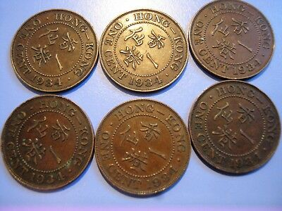 6 X 1934 Hong Kong One Cent Coins. Extremely Fine.