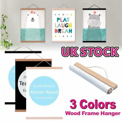 21-50cm Magnetic Wood Photo Picture Frame Large Poster Print Art Wooden Hanger