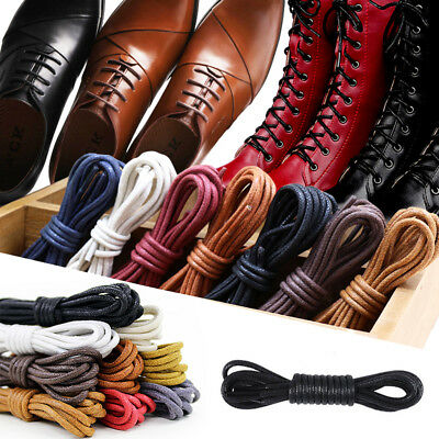 New 1Pair Waxed Cord Round Leather Shoe Laces 60-180cm Shoelaces String