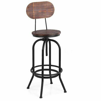 Rustic Industrial bar stool wooden top shabby vintage chic kitchen chair black T