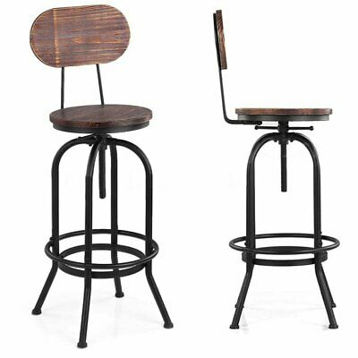 Industrial Bar Stools Rustic Vintage Swivel Pub Kitchen Dining Chair Adjustable